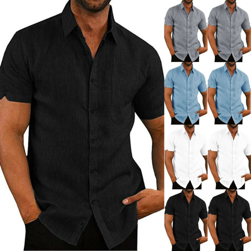 Mens Linen Blouse Short Sleeve Baggy Buttons Summer Solid Comfortable Pure Cotton And Linen Casual Loose Holiday Shirts Tee Tops 2