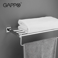 GAPPO Stainless Steel Towel Racks Bath Towel Bars Wall Mounted Towel Holder Hooks Brass Restroom Towel Rack Bathroom Accessories