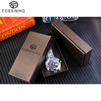 Forsining Silver Watches Folding Clasp with Safety Men\'s Automatic Watches Top Brand Luxury Transparent Watches Luminous Hands