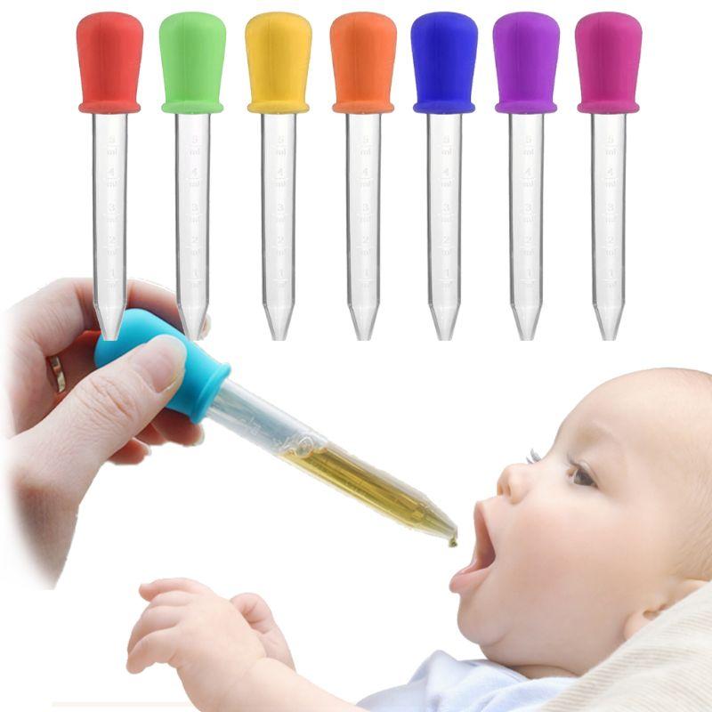 5ml Silicone Pipette Liquid Food Dropper Plastic Baby Feeding Medicine Dropper Spoon Burette Infant Utensils