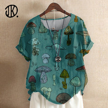 Cute Style Mushroom Print Top Fashion Short-sleeved Women's Casual Round Neck Clothing Top Summer Loose Pullover For Ladies 3XL