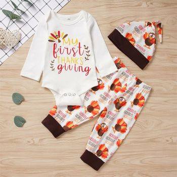 turkey print set newborn kids baby boy girl clothes my first thanksgiving letter long sleeve boysuit pants outfits set 0 2t CANIS Autumn Newborn Baby Boy Girl Long Sleeve Letter Printed Bodysuit Pants Hat My First Thanksgiving Outfits