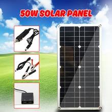 50W Monocristallino di Silicio Del Pannello Solare Caricabatterie Del Telefono Cellulare Delle Cellule per la Batteria Accendisigari Doppia Interfaccia USB 12 V/ 5V