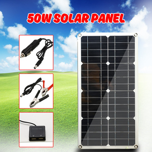 Image 1 - 50W Monocrystalline Silicon Solar Panel Cell for Battery Cell Phone Chargers Cigarette Lighter Double USB Interface 12V/5V