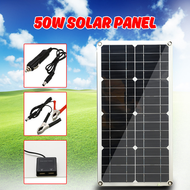 50W Monocrystalline Silicon Solar Panel Cell for Battery Cell Phone Chargers Cigarette Lighter Double USB Interface 12V/5V