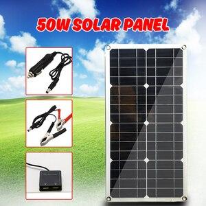 Image 1 - A pilha monocristalina do painel solar do silicone 50 w para a relação dobro 12 v/5 v do usb do isqueiro dos carregadores do telefone da pilha da bateria