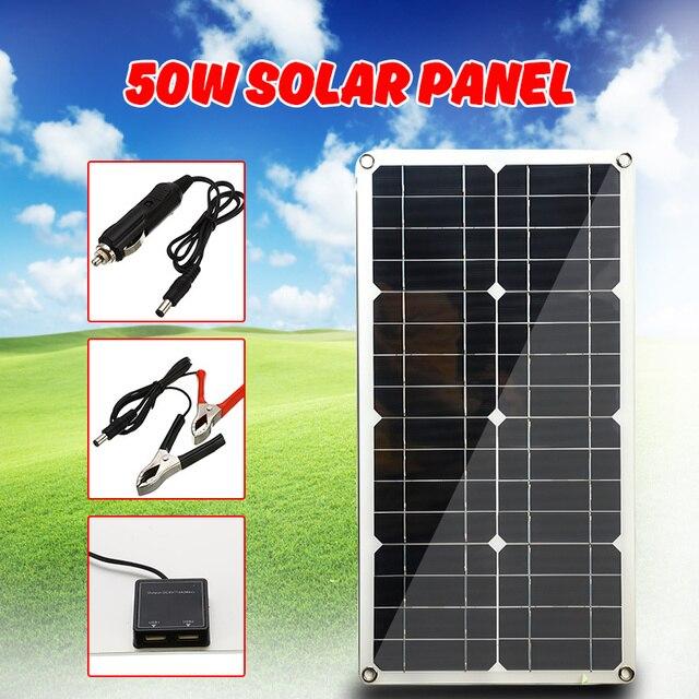 A pilha monocristalina do painel solar do silicone 50 w para a relação dobro 12 v/5 v do usb do isqueiro dos carregadores do telefone da pilha da bateria
