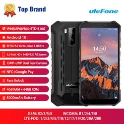 Ulefone Armor X5 Pro Водонепроницаемый Прочный для мобильного телефона NFC 4G LTE 4 Гб + 64 Гб Смартфон Android 10,0 сотовый телефон Восьмиядерный процессор