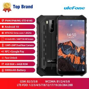 Купить Ulefone Armor X5 Pro Водонепроницаемый смартфон с восьмиядерным процессором, ОЗУ 4 Гб, ПЗУ 64 ГБ, Android 10,0