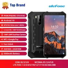 Ulefone שריון X5 פרו עמיד למים טלפון נייד מחוספס NFC 4G LTE 4GB + 64GB Smartphone אנדרואיד 10.0 נייד אוקטה ליבות מעבד