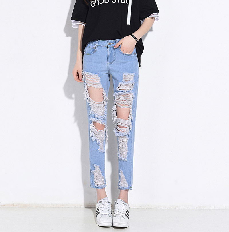 2018 New Style Women's Jeans Grinding Tattered Hole Straight-Cut Ankle-length Pants-Supply