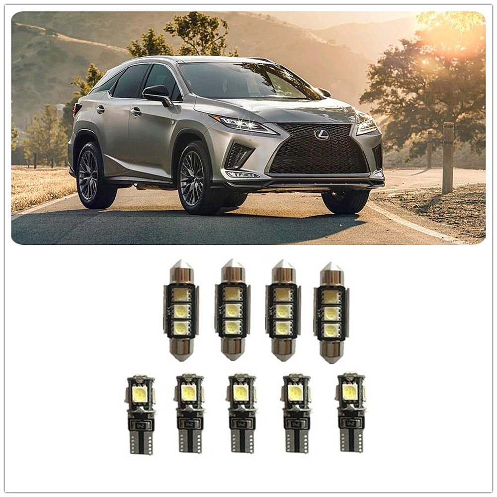 9Pcs White LED Lights Interior Package Kit For <font><b>Lexus</b></font> <font><b>NX300h</b></font> RC F RC350 SC430 SC400 SC300 RX300 RX450h RX400h RX350 RX330 image