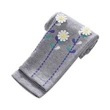 Осенние обтягивающие штаны для маленьких девочек теплые леггинсы брюки стрейч с цветочным узором для девочек эластичные леггинсы От 2 до 7 лет