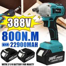 800N.m Brushless Electric Impact Wrench 1/2 Sokect Cordless Wrench Rechargeable 22900mAh Battery Power Tools for Makita 18V