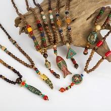 Handmade Nepal Necklace Buddhist Mala Wood Beads Pendant & Ethnic Geometric Long Strand Statement Jewelry Women Men