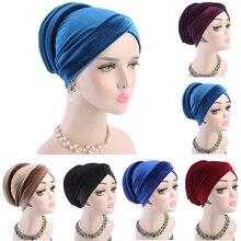 Women Velvet Muslim Cap Turban Headscarf With Pearl Middle East Bandanas Hijab India Cap Autumn Winter Head Wrap Long Tail