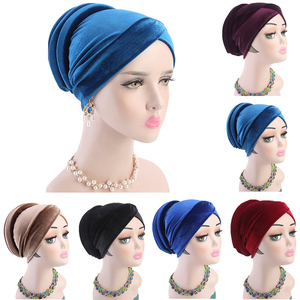 Image 1 - Women Velvet Muslim Cap Turban Headscarf With Pearl Middle East Bandanas Hijab India Cap Autumn Winter Head Wrap Long Tail