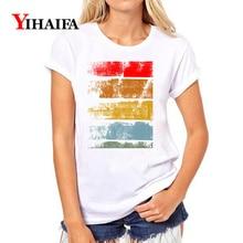 Women Fashion Tee Shirt Colorful Striped Printed Short Sleeve Unisex Graphic T Shirts Harajuku Women Shirts Camisas Mujer стоимость