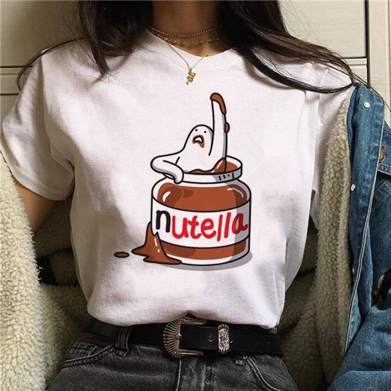 Nutella nadruk kawaii T koszula kobiety 90s Harajuku Ullzang moda koszulka graficzna śliczna koszulka kreskówka koreański stylowy top Tees kobieta 5