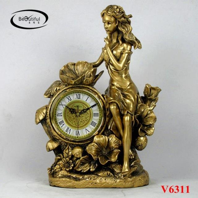 European-style floor clock living room retro-American seat fashion creation modern resin goddess silent Desk Clock