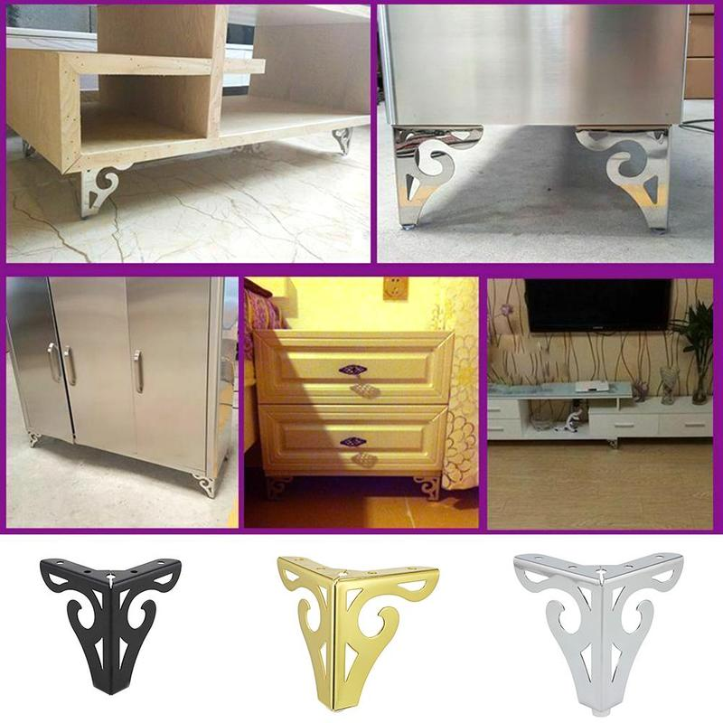 1PCS Metal Polished Sofa Chair Legs 10cm Modern Hollow Patten Table Cabinet Bed Feet Furniture Accessories