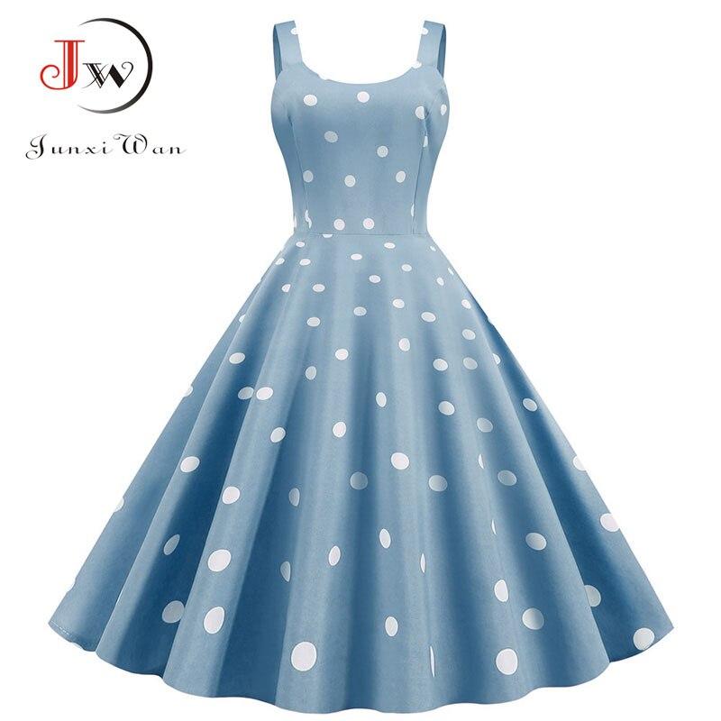 Women Summer Sexy Party Dress Casual Polka Dot Print Hepburn Vintage Robe Femme Plus Size Spaghetti Strap Midi Sundress 1