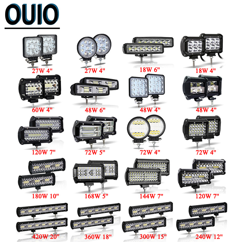 <font><b>4</b></font>-20inch 18-420W <font><b>LED</b></font> Work Light <font><b>Bar</b></font> <font><b>Offroad</b></font> ATV UAZ SUV 4WD 4x4 Truck Tractor Trailer <font><b>Led</b></font> Car Lights 12V 24V Spot Flood <font><b>LED</b></font> Lamp image