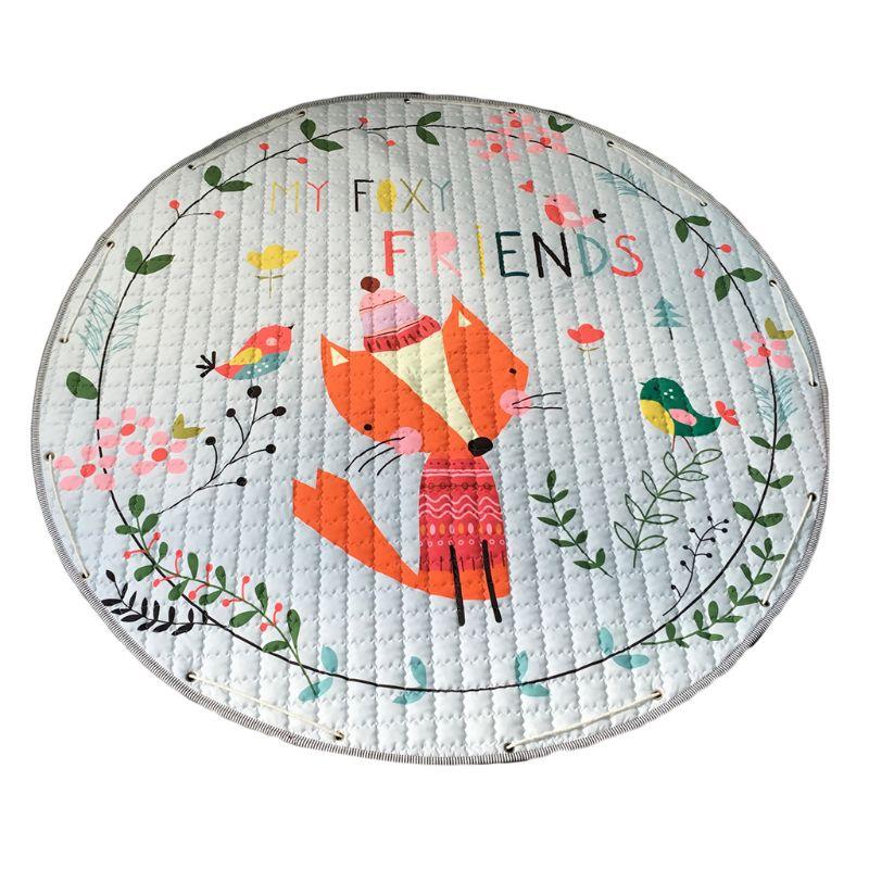 Cartoon Cute Fox Bird Pattern Crawling Mat Portable Kids Baby Play Round Pad