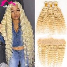613 Bundle con miele frontale biondo HD trasparente 13x4 pizzo frontale onda profonda estensioni dei capelli umani 3 4 fasci di capelli brasiliani