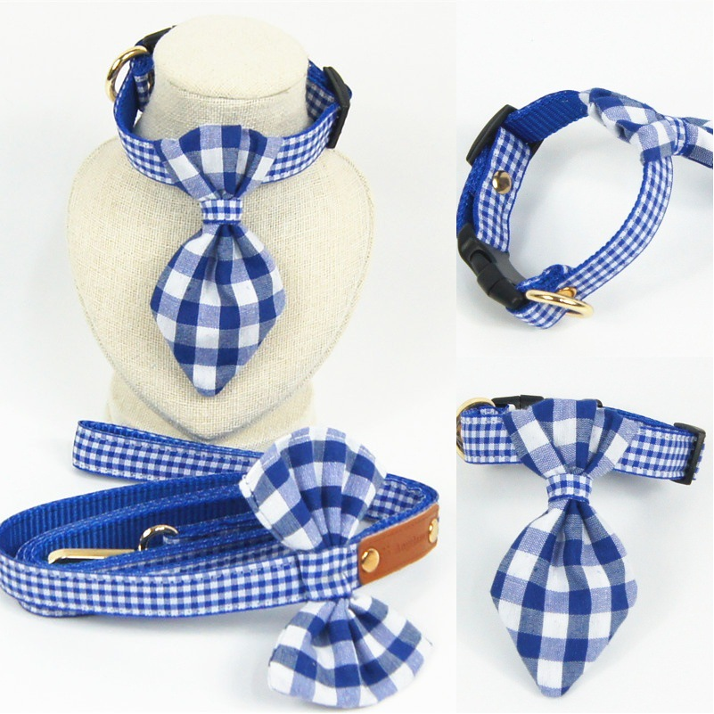 Hot Selling New Style Blue And White Plaid Handmade Bowtie Pet Collar Dog Traction