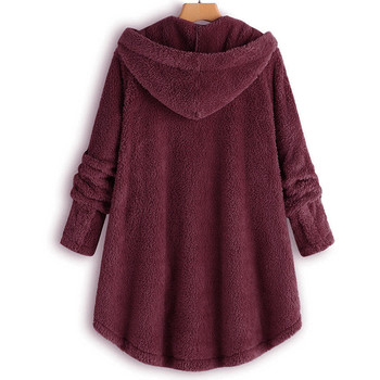Female Jacket Plush Coat Fashion Warm Women Button Coat Fluffy Tail Tops Women's Hooded Jackets Pullover Loose Sweater#J30 2
