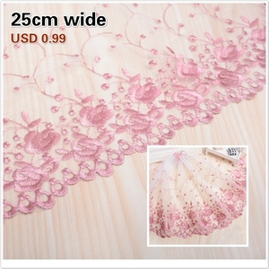 White Mesh Gauze Pink Embroidery Exquisite Lace DIY Ladies Wedding Children s Clothing Fabric Cradle Home Textile Sofa Trim