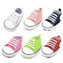 Парусиновая обувь с логотипом звезды для новорожденных мальчиков и девочек, 6 цветов, на шнуровке, с хлопковой подошвой, кроссовки для первых шагов, для 0-18 месяцев