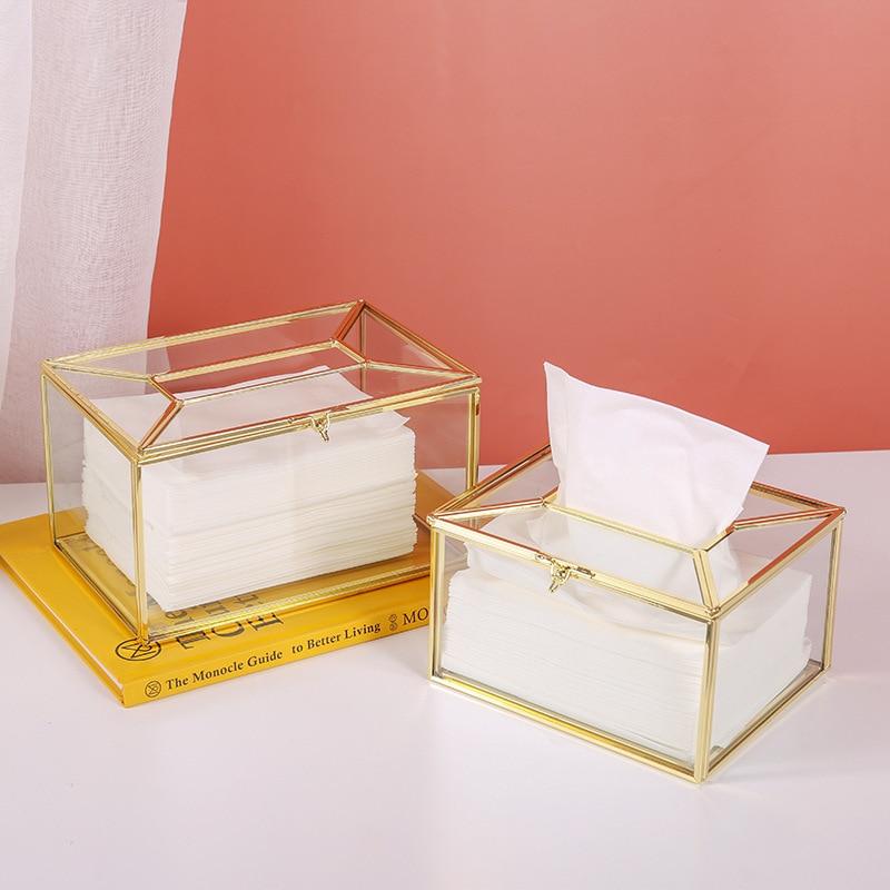 קופסא לממחטות דקורטיבית שקוף זהב 1