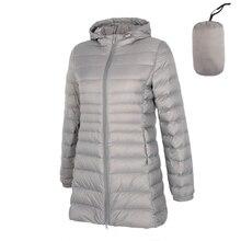Matowej tkaniny 5XL 6XL Plus długi dół kurtki kobiety zima ultralekka kurtka puchowa kobiet z płaszcz puchowy z kapturem kobiet duży rozmiar płaszcze