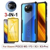 fundas Poco X3 Pro, transparente de teléfono original color funda para Pocophone X3-Pro F3 M3 carcasa & cristal, armadura antigólpe funda Xiaomi Poco+X3+Pro