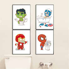 Bathroom WC Toilet Painting Cartoon Cute Superhero Boys Gift Painting Canvas Poster Baby Kids Room Decor Wall Art Picture