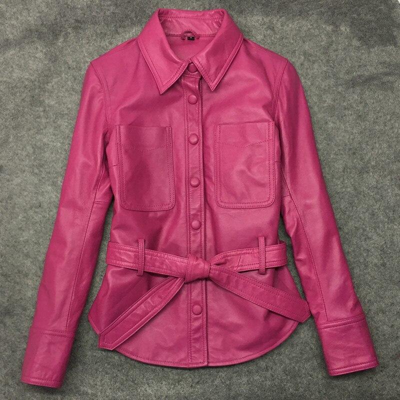 Free Shipping,2020 Genuine Leather Woman Slim Jackets.fashion Asian Size Female Sheepskin Jacket,Shirt Style Coat.new Sales