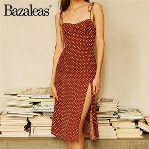 Bazaleas Retro dresses Slim Chic Brown Dress Sexy Dot Print Split vestidos Vintage Tube top women dress(China)