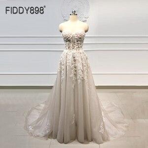 Image 1 - Beach Boho Wedding Dress 2020 Sweetheart Beaded Crystal Lace A Line Court Train Bridal Gowns Elegant Bohemian Bride Dresses