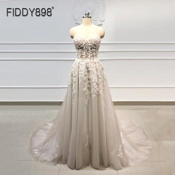 Beach Boho Wedding Dress 2020 Sweetheart Beaded Crystal Lace A Line Court Train Bridal Gowns Elegant Bohemian Bride Dresses