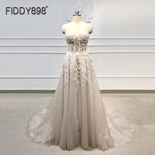 Vestido de playa Bohemia boda 2020 novia bordado con cuentas cristal encaje A Line Court Train vestidos elegantes de novia bohemio vestidos de novia