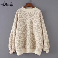 Artsnie streetwear leopard casual women sweater autumn 2019 o neck long sleeve pullover jumpers winter knit warm sweaters mujer