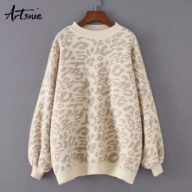 Artsnie Streetwear Leopard Casual Women Sweater Autumn 2019 O Neck Long Sleeve Pullover Jumpers Winter Knit Warm Sweaters Mujer