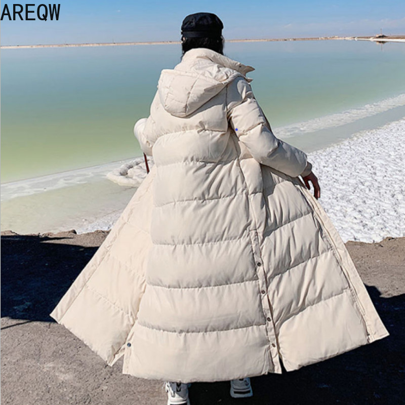 Women Coats and Parkas Autumn Winter Long X Long Parkas High Quality Beige Black with Hooded