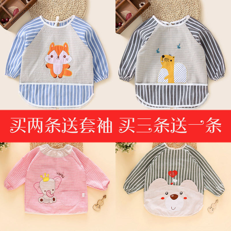 Autumn And Winter Baby Eating New Style Long Sleeve Infants Pinny Cotton Linen Kids Overclothes Bib Children Bib Protective Clot