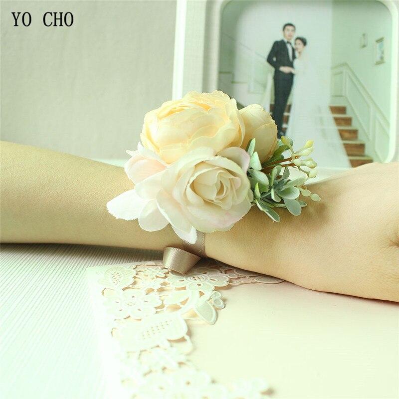 High Grade Silk Flower Wrist Corsage Artificial Rose Bridesmaid Brooch Man Boutonniere Dress Accessory Wedding Prom Party Decor