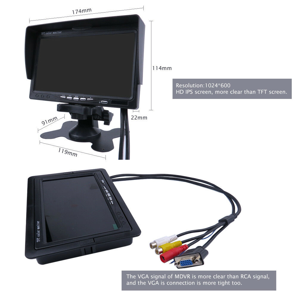 "Image 3 - DIY 720P AHD 4CH 256GB Car Truck Mobile AHD DVR Video Recorder Rear View CCTV Camera System 7"" Monitor Free Shipping-in Surveillance System from Security & Protection"