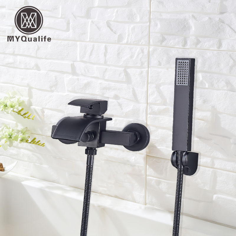 MYQualife Matte Black Bathroom Faucet 2 Function Bathtub Facuet  Wall Mounting Cold And Hot Shower Faucet
