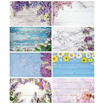 Laeacco Wooden Board Spring Flowers Tassel Planks For Digital Photo Studio Photography Background Photographic Backdrop